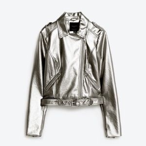 ZARA Metallic leather biker jacket